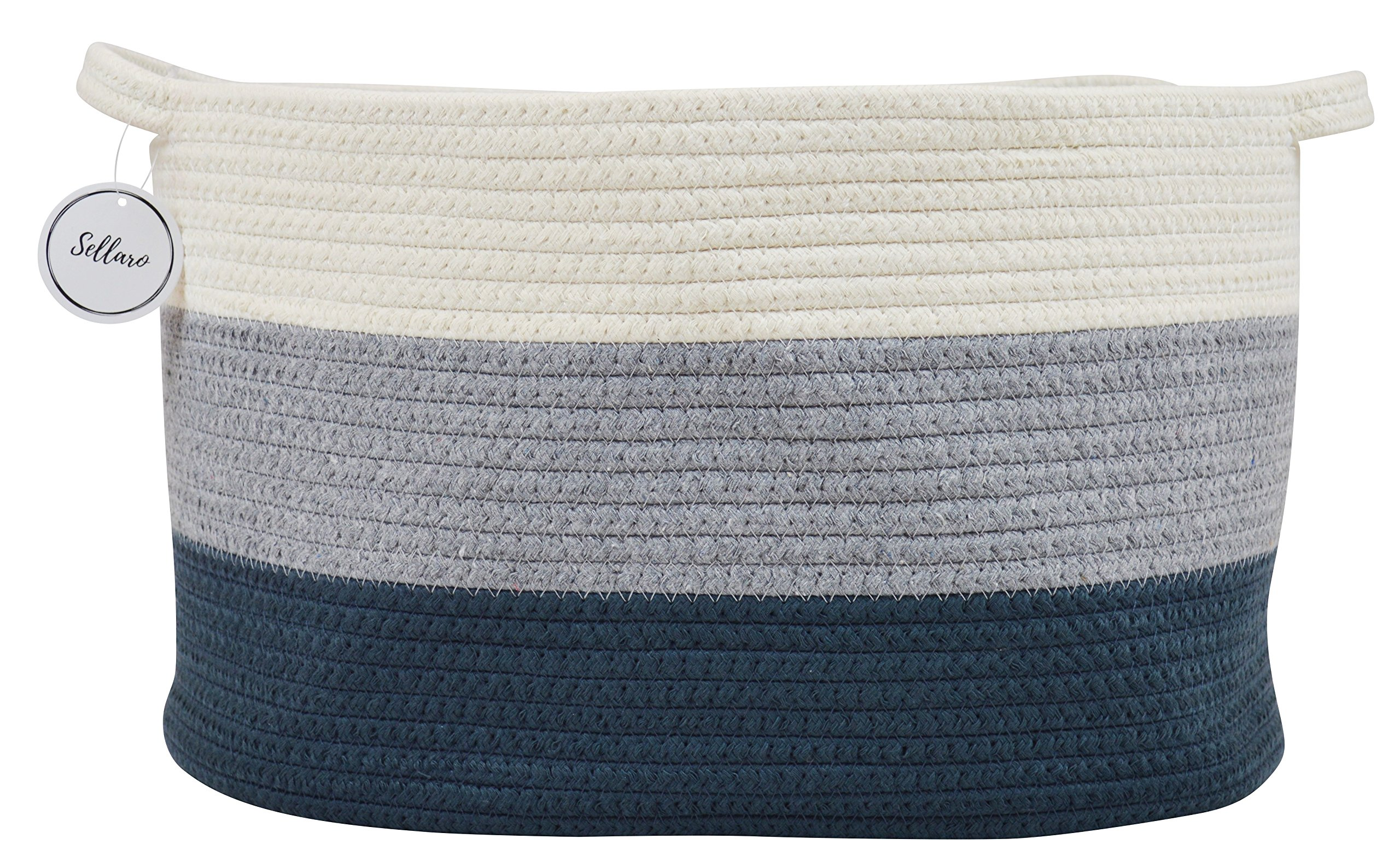 Cotton Rope Basket for Storage and Organization in Baby Nursery or Kids Room | Large 16'' x 11'' x 10'' Decorative Laundry Hamper, Organizer for Blankets, Towels, Toys, Books | Blue/Grey/Off-White by Sellaro Home