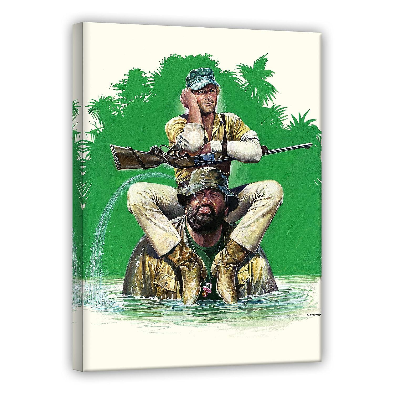 Terence Hill Bud Spencer Leinwand - Das Krokodil und sein Nilpferd - Kunstdruck Renato Casaro Edition (80 x 120 cm)