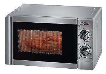 Severin MW 9717 - Microondas de acero inoxidable (700 vatios, grill: 1000 vatios, 20 litros)