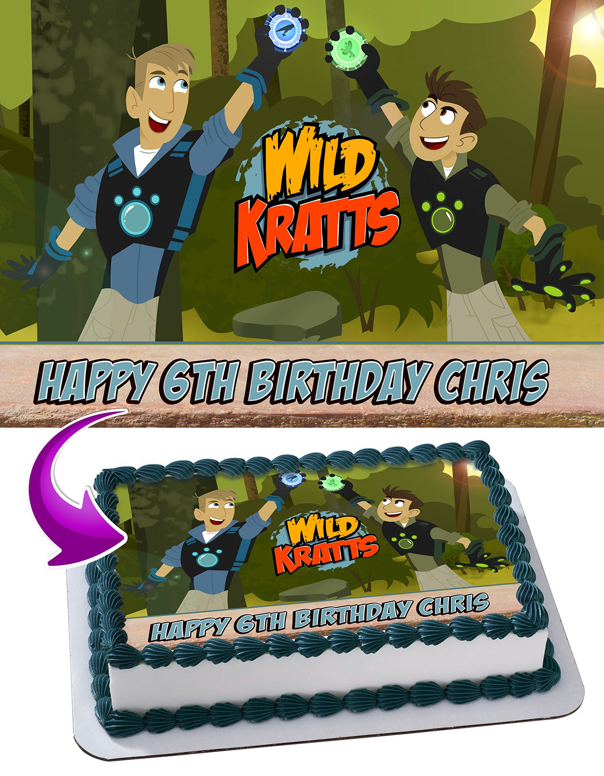 Wild Kratts Edible Image Cake Topper Personalized Icing Sugar Paper A4 Sheet Edible Frosting Photo Cake 1/4 ~ Best Quality Edible Image for cake