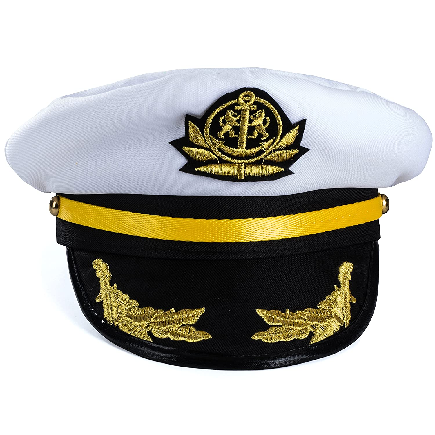 Yacht Captain Hat Navy Marine Hat Costume Accessories by Funny Party Hats Skipper Hat Sailor Cap