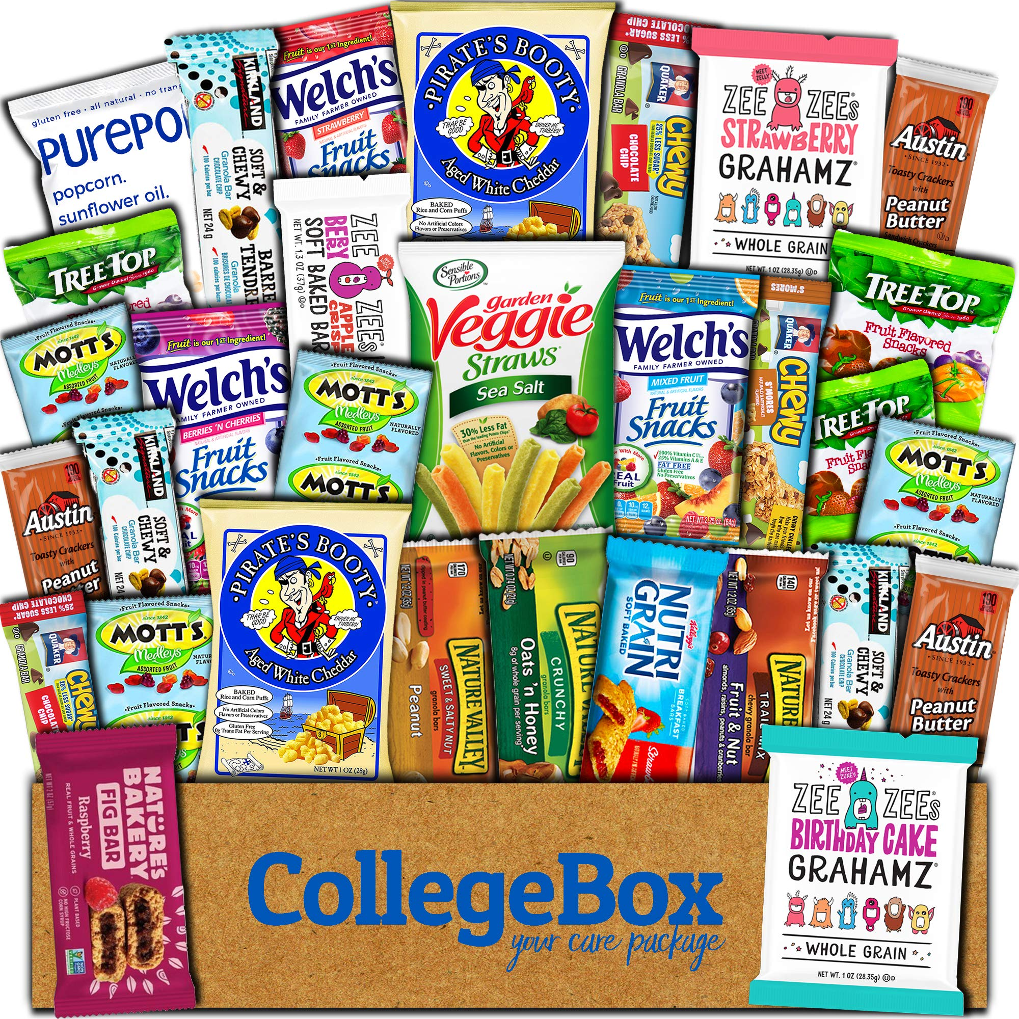College Box Healthy Care Package (30 Count) Natural Bars Nuts Fruit Health Nutritious Snacks Variety Gift Box Pack Assortment Basket Bundle Mix Sample College Student Office Fall Back School Halloween by CollegeBox