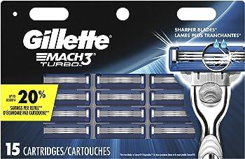 Gillette Mach3 Turbo Men's Razor Blades (15 Refills)