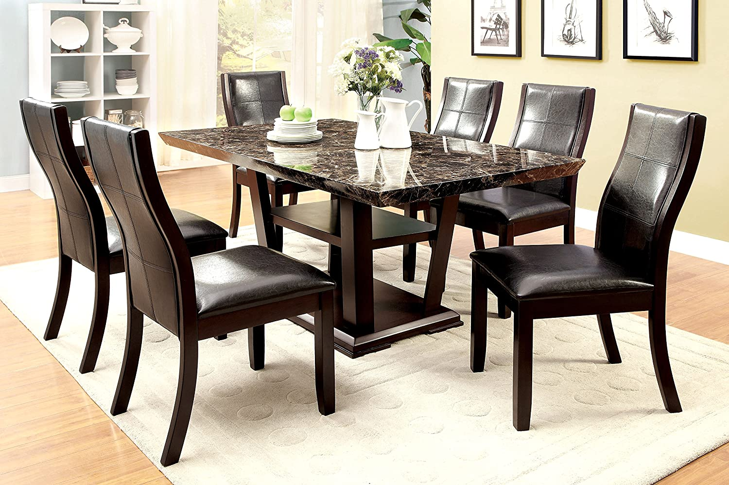 Amazon Com Furniture Of America Alfaro 7 Piece Modern Faux Marble Top Dining Set Table Chair Sets