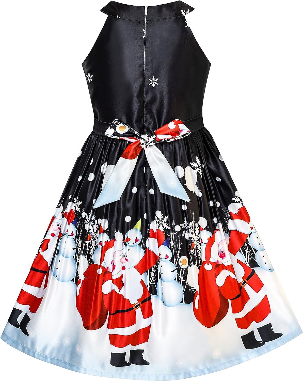 Sunny Fashion Girls Dress Christmas Eve Christmas Tree Snow Reindeer Party