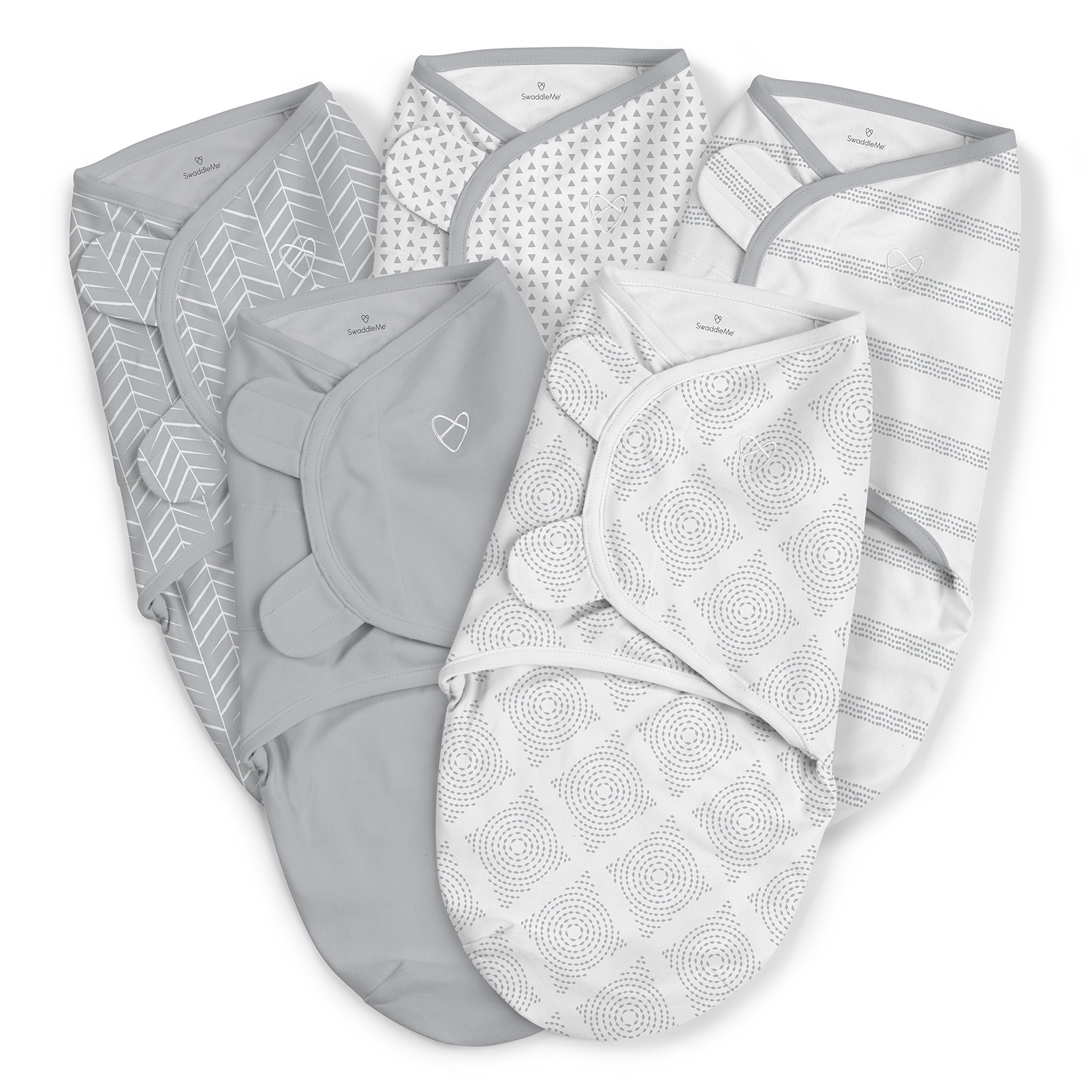 SwaddleMe Original Swaddle 5-PK, Grays for Days, Small