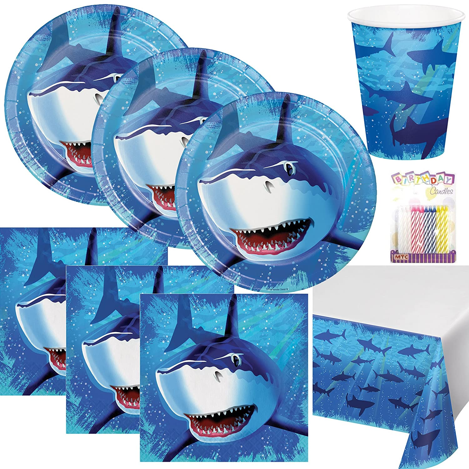 Shark Splash Theme Party Plates Napkins Cups and Table Cover Serves 16 with Birthday Candles - Shark Party Supplies (Bundle for 16)