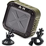 Portable Outdoor Speaker By A-KOL - Shockproof - 10-12 Hrs Battery Life - 5W Audio + Powerful Bass - Wireless Shower Bluetooth Speaker - Works On Android and iOS Devices - Free Shower and Bike Mount
