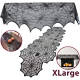 JOYIN 2 Pack Halloween Decoration Black Spiderweb Fireplace Mantle Scarf (36X96 inches) with Black Table Runner Lace…