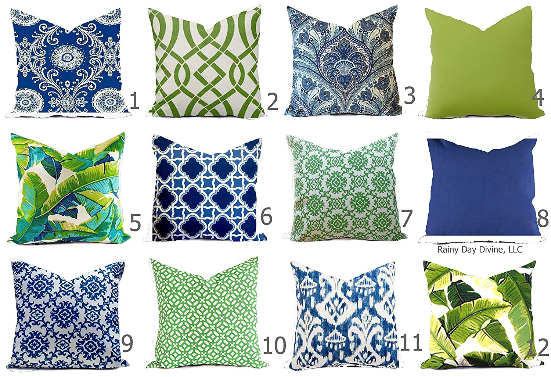 Amazon Com Outdoor Pillow Cover Cobalt Royal Blue Navy Green Palm