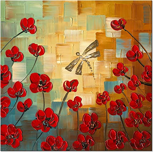 Wieco Art Dragonfly Extra Large Modern Flowers Artwork 100 Hand Painted Gallery Wrapped Floral Oil Paintings on Canvas Wall Art Ready to Hang for Living Room Home Decor Office Decorations XL