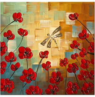 Wieco Art   Dragonfly Modern Flowers Artwork 100% Hand Painted Stretched  And Framed Floral Oil
