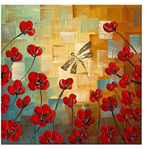 Wieco Art Dragonfly Extra Large Modern Flowers Artwork 100% Hand Painted Gallery Wrapped Floral Oil Paintings on Canvas Wall Art Ready to Hang for Living Room Home Decor Office Decorations XL
