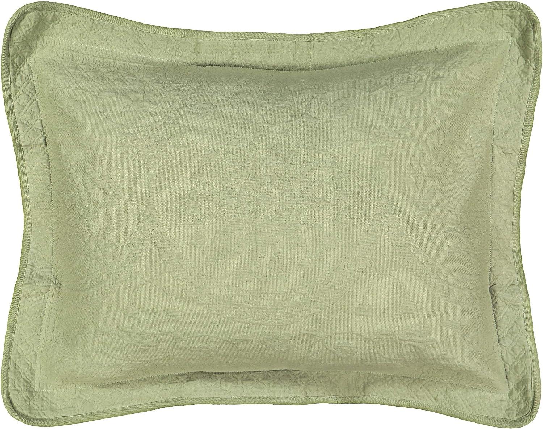 Historic Charleston King Charles Matelasse Standard Euro Sham Pillow Case Cover, Embossed Floral Decorative, 100% Cotton, (20