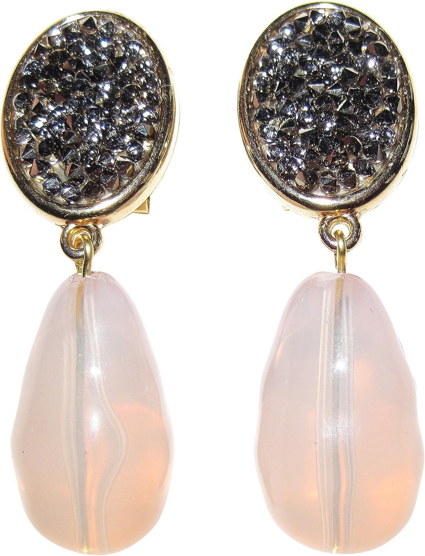 Pendientes de clip de color gris y rosa, muy grandes, dorados, aspecto de estrás, color gris oscuro, colgante de imitación de cuarzo rosa, gota de gota de glamour, diseñador, JUSTWIN