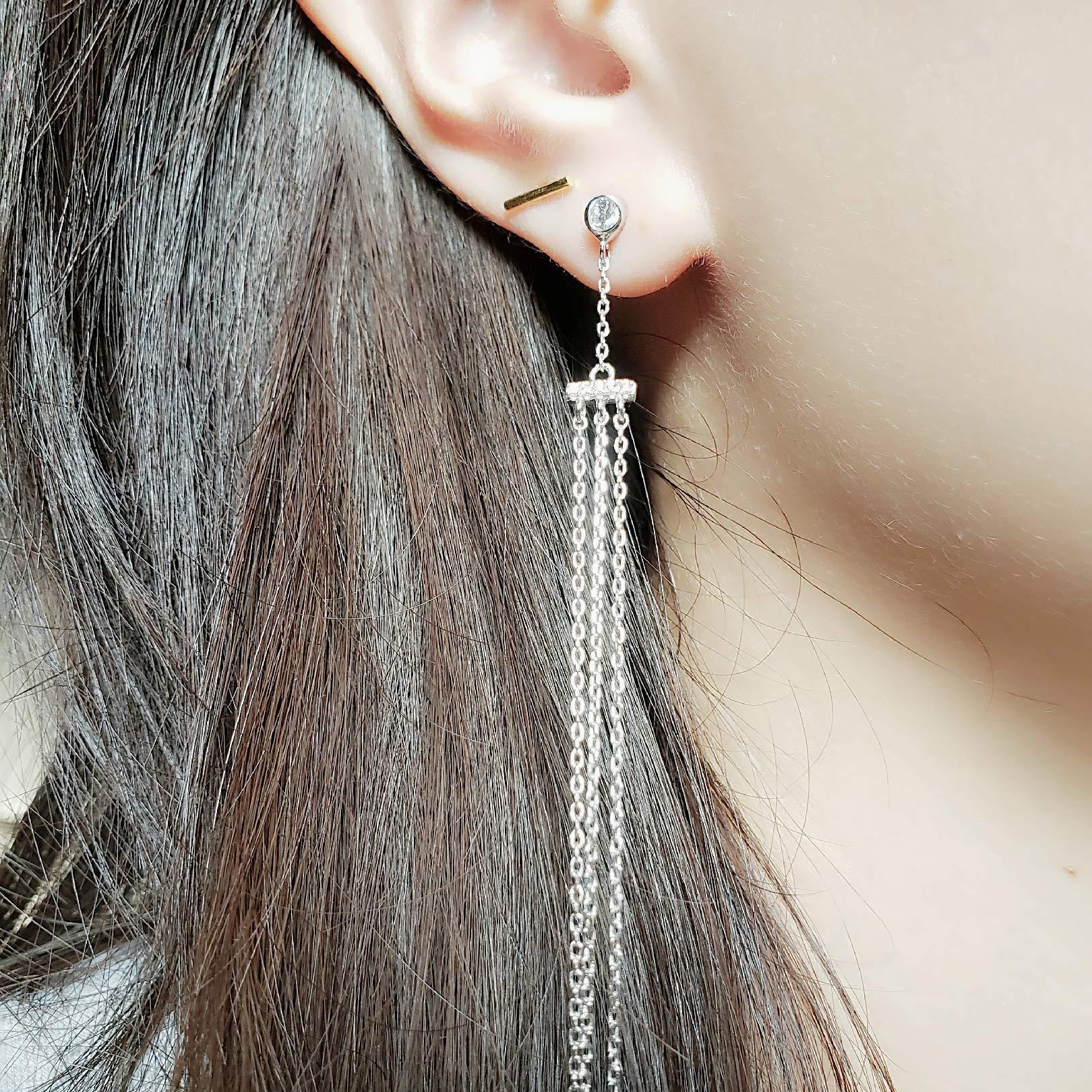 Spoil Cupid Rhodium Plated Sterling Silver Cubic Zirconia Chandelier Dangle Drop Earrings