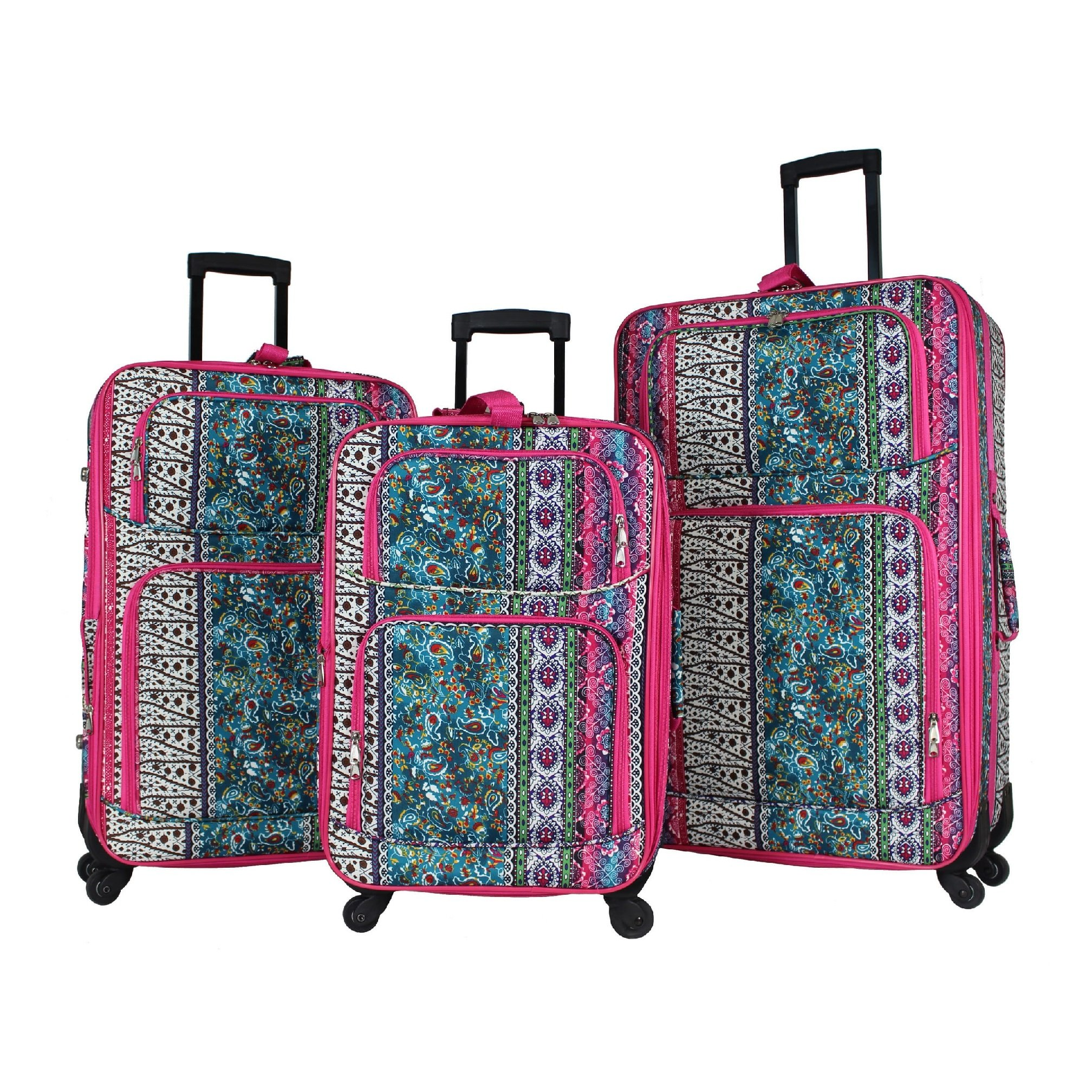 3 Piece Geometric Nature Floral Paisley Motif Rolling Lightweight Expandable Carry On Luggage Set, Printed Zigzag Stripes Chevron Theme, Softside, Multi Compartment, Soft Travel Suitcases, Pink, Blue