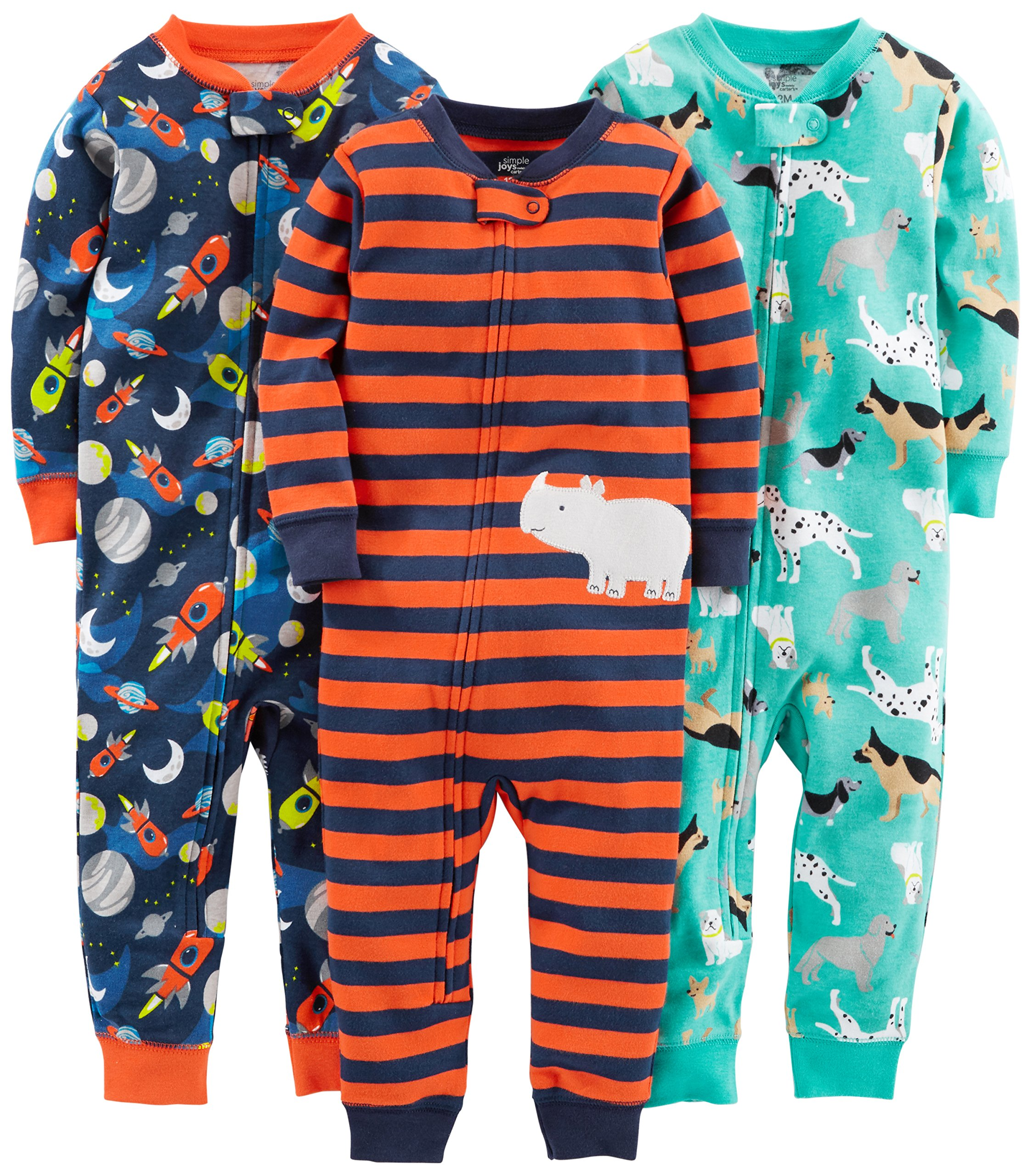 Simple Joys by Carter's Baby Boys' Toddler 3-Pack Snug Fit Footless Cotton Pajamas, Dogs/Space/Rhino, 3T by Simple Joys by Carter's