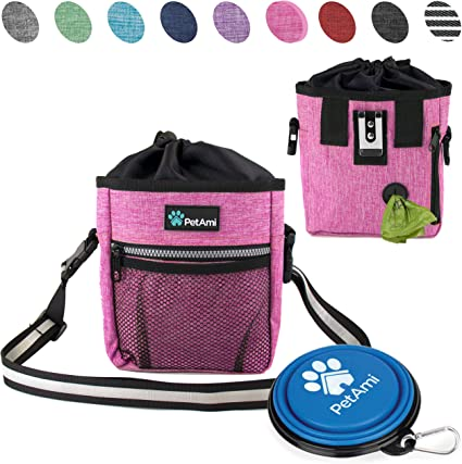 Dog Treat Pouch Pet Food Storage Bag Poop Bag/&Training Clicker/&Foldable Bowl
