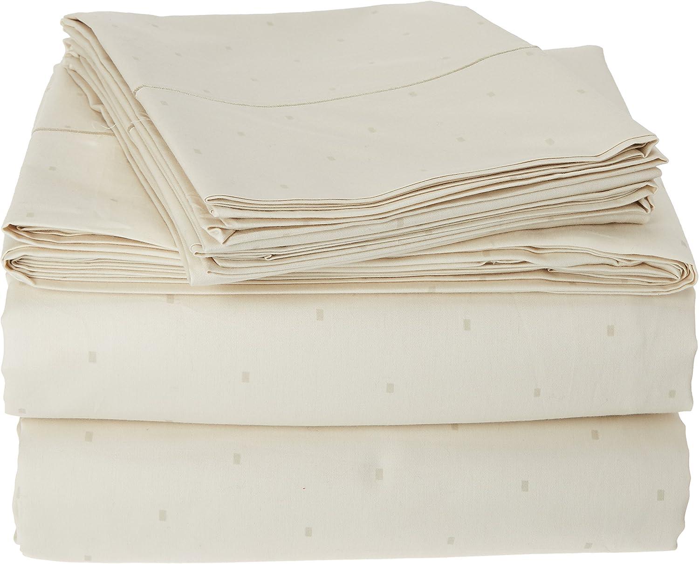 Charisma 310 Thread Count Classic Dot Cotton Sateen King Sheet Set in Almond Milk