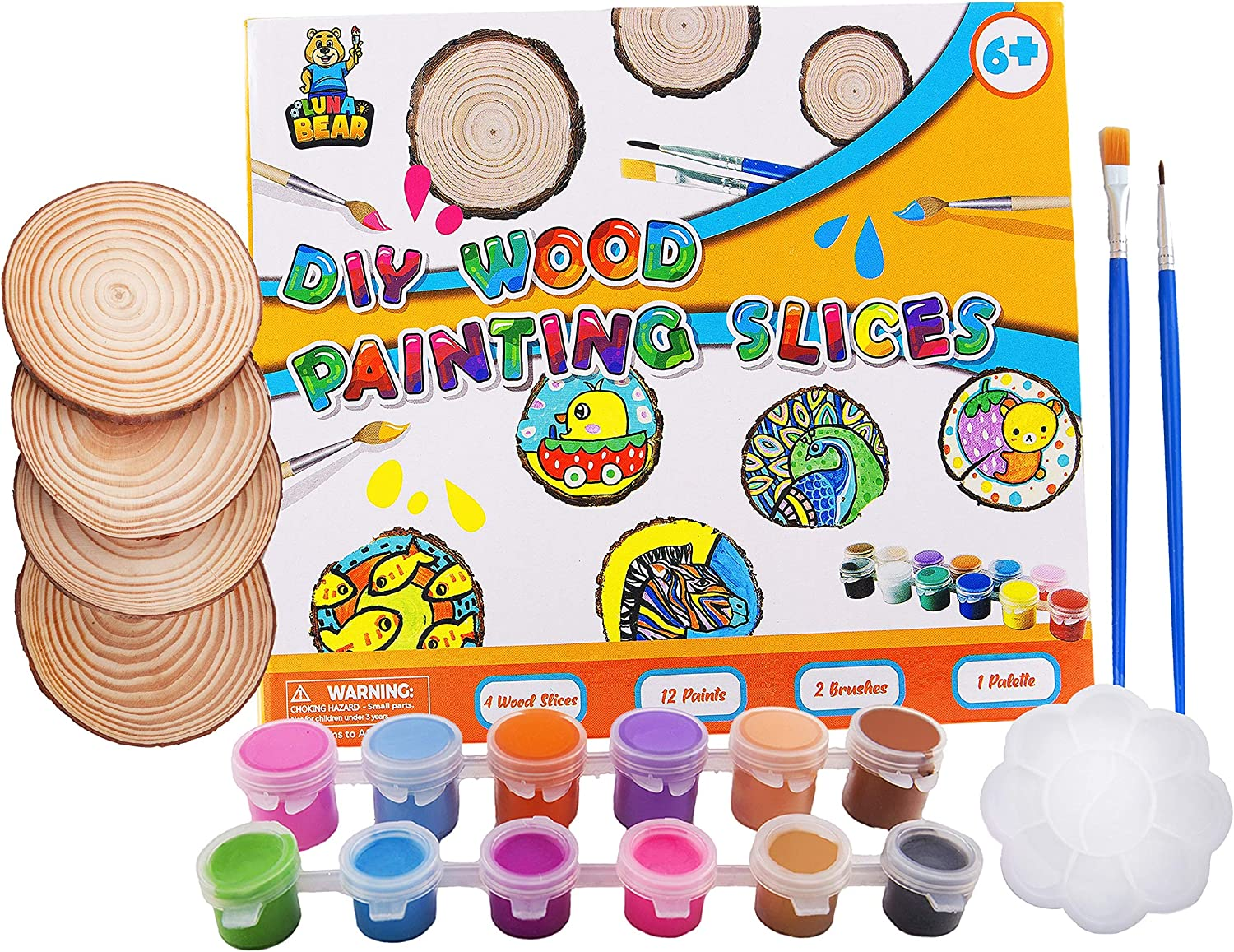Luna Bear Products - Wood Slice Painting Kit - DIY Arts & Crafts Project Kits for Kids - Make Handmade Ornaments & Decorations - Includes Unfinished Wood Round Slices, Non-Toxic Paint, & Brushes - 6+