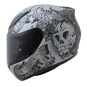 MT Venganza Cascos Integrales de Moto Motocicleta Bicicleta Calavera y Rosas Gris/Negro S(
