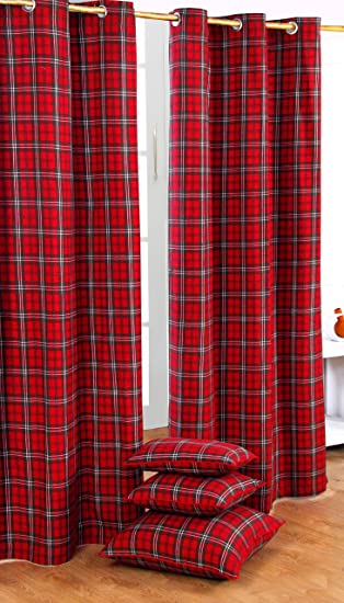 Homescapes Pair of 100% Cotton Ready Made Curtains - Edward Tartan ...