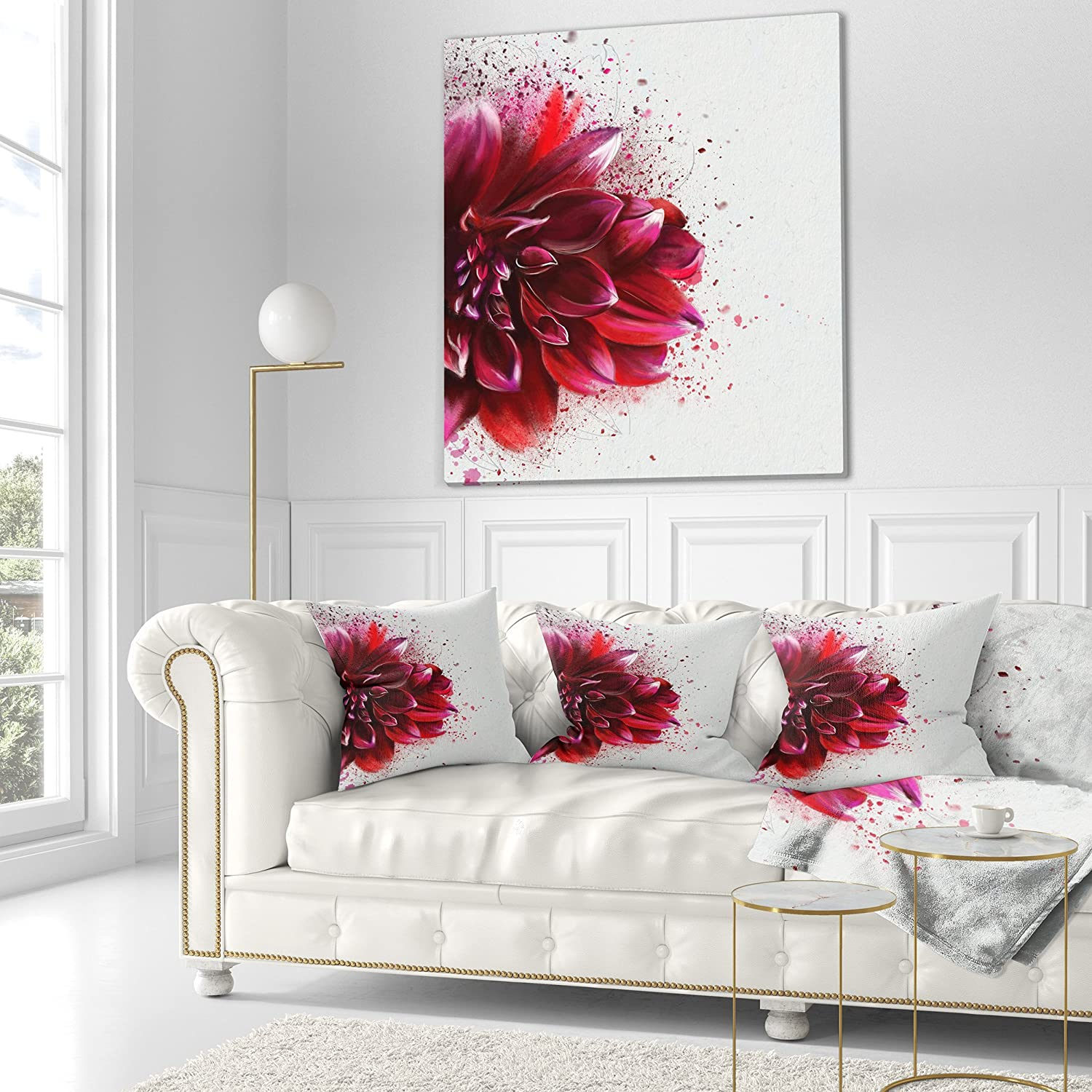 Sofa Designart CU13684-16-16 Dark Red Watercolor Rose Flower Floral Cushion Cover for Living Room Throw Pillow x 16 in Insert Printed On Both Side