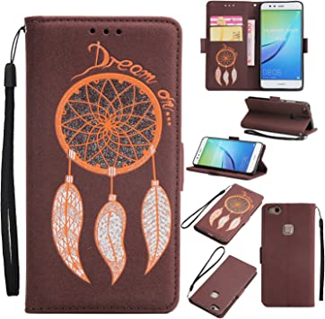 Hand Strap PU Leather Wallet Flip Folio Protective Case Cover with Card Slots Cash Pocket Kickstand for Huawei P8 Huawei P8 Wallet Case, Pink Huawei P8 Case Wind Chimes Pattern