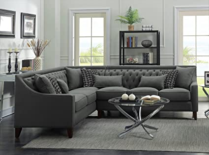 Super Iconic Home Orion Linen Tufted Back Rest Modern Contemporary Left Facing Sectional Sofa Grey Ncnpc Chair Design For Home Ncnpcorg