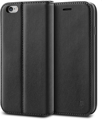 BEZ® Cover iPhone 6, iPhone 6S, PU Custodia Compatibile per iPhone 6 6S, Protettiva Portafoglio Flip Cover con Kickstand Fuction, Nero
