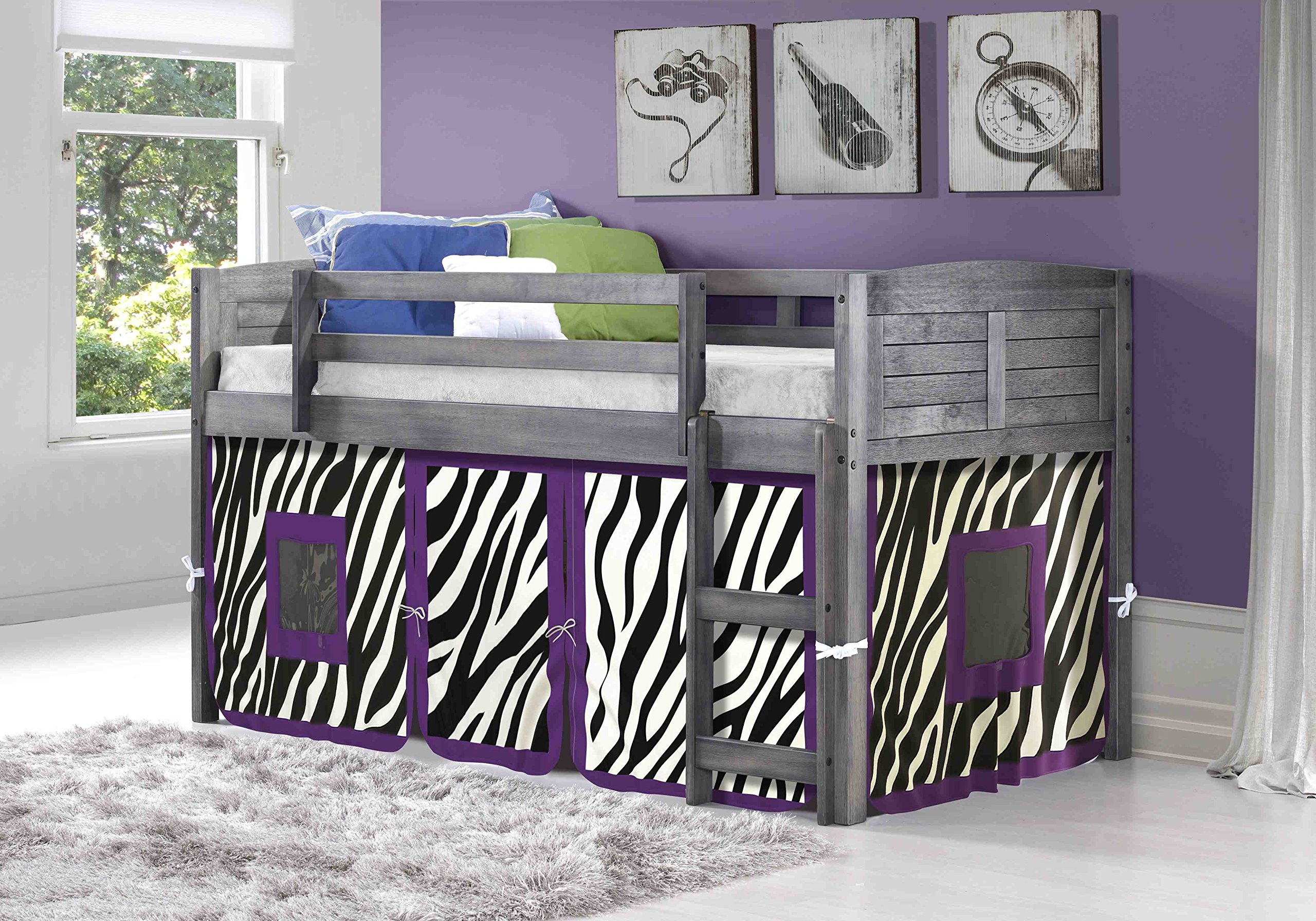 DONCO KIDS Louvered Low Loft with Zebra Tent , Twin