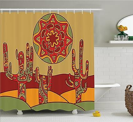 Tribal Shower Curtain Tribal Design Cactus Print for Bathroom