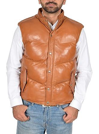 64d992c0ffa Mens Real Leather Puffer Body Warmer Waistcoat Gilet Sleeveless Casual  Jacket Leon Tan (Small)