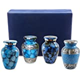 Forever Remembered Classic Blue Small Mini Cremation Keepsake Urns for Human Ashes - Set of 4 - Find Peace and Comfort Everytime You Look At These Beautiful Urns - Includes Superb Blue Velvet Urn Case