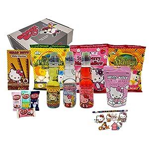 SnackShip Hello Kitty Snack Box - Three Hello Kitty Marshmallow, Three Ramune Drinks, Wafer Cookies, Strawberry Chews, and Stickers w/ Pencil