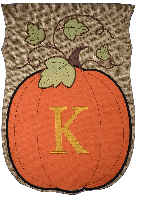 JEC Home Garden Flag Monogram Fall Pumpkin Burlap Autumn Garden Flag 12.5 x 18 (K)