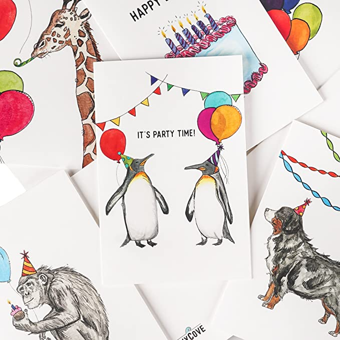 Assorted Animal Happy Birthday Cards 36 Pack