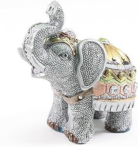 "W Feng Shui 4.5""(H) Elephant Wealth Lucky Figurine Home Decor Housewarming Gift (G16240)"