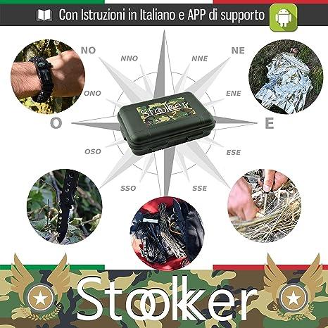Kit de Supervivencia Militar Profesional de Tercera Generación Emergencia Montaña Excursión Senderismo al Aire Libre 11En1 Linterna Pulsera Táctica Paracord ...