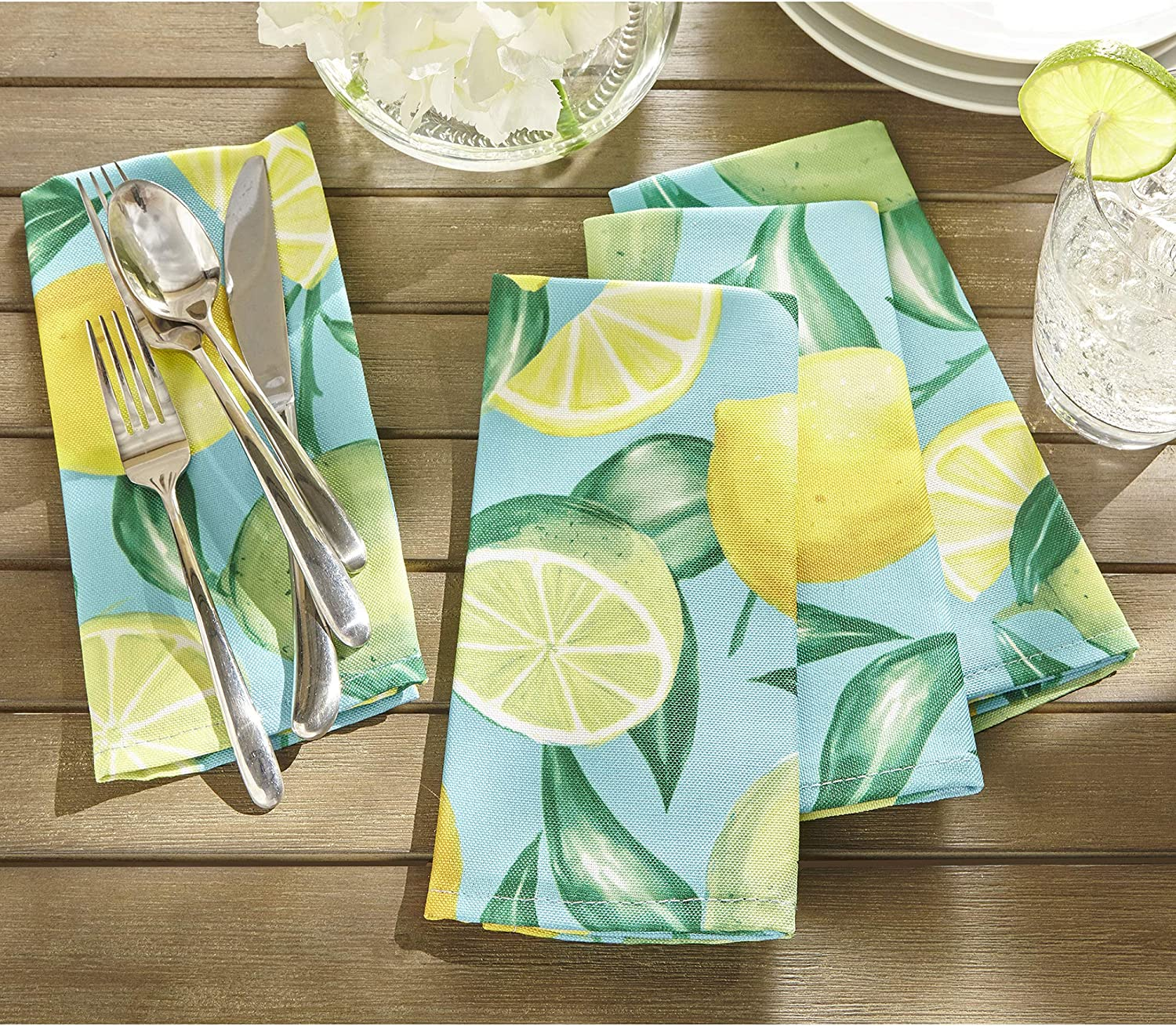 """Elrene Home Fashions Lemon Grove Stain Resistant Indoor Outdoor Spring/Summer Napkin Set of 8, 17""""x17"""", 8 Count"""