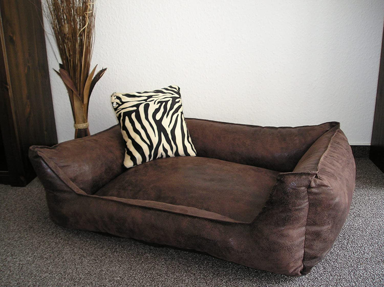 Velluto Dog Sofa / Bed 90 x 70 cm Brown Hundebettenmanufaktur