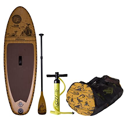 Amazon.com : C4 Waterman Disney Moana Inflatable Stand Up Paddle Board Set, Woodgrain Brown, One Size : Sports & Outdoors