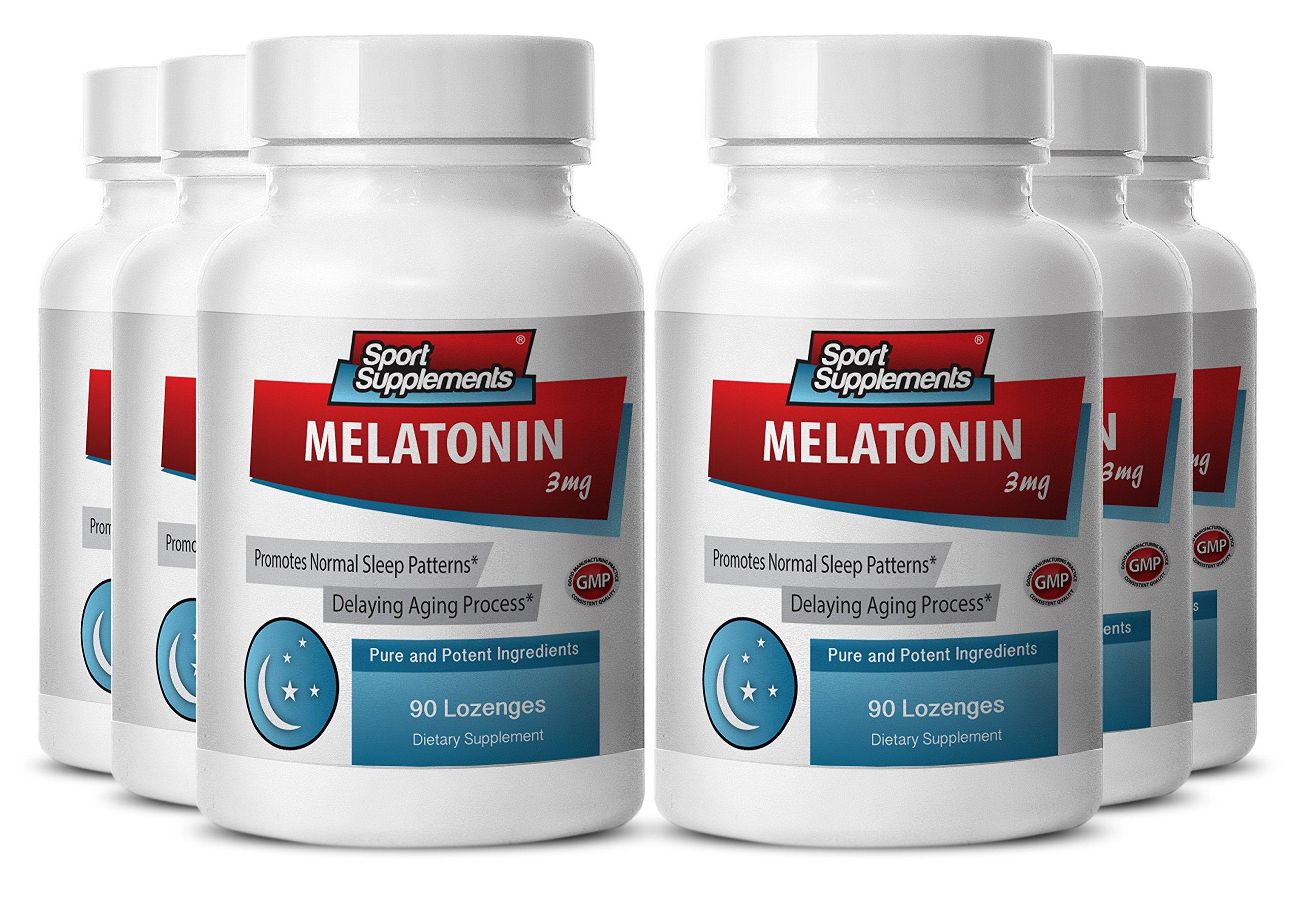 Melatonin vital nutrients - Melatonin 3mg - Helps fight insomnia - Helps fight migraines (6 Bottles - 540 Lozenges)