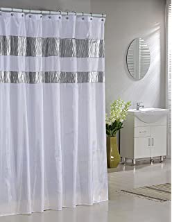 Charmant Faux Silk Fabric Shower Curtain: Shimmering Metallic Accents (White)