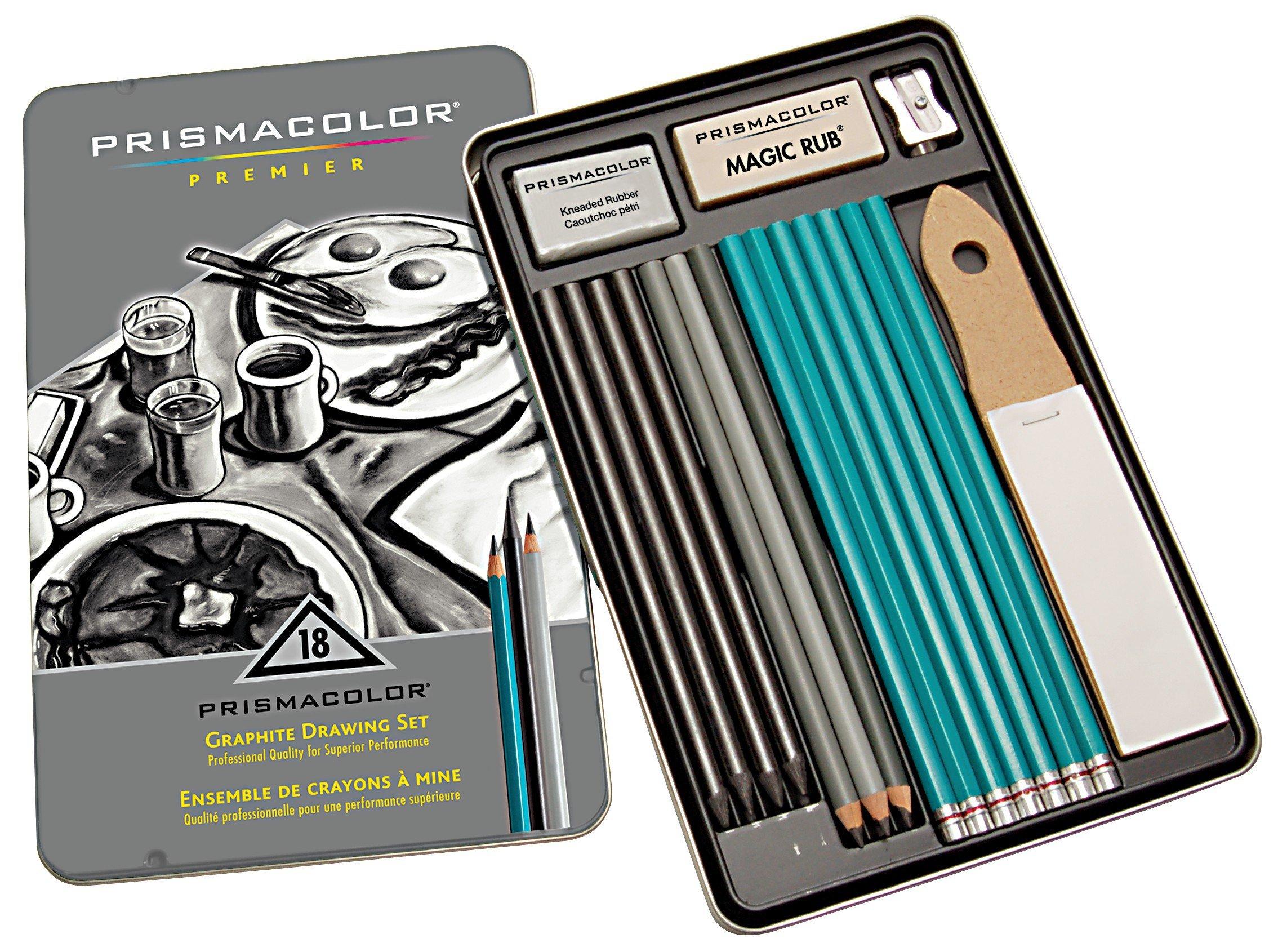 Prismacolor 24261 Premier Graphite Drawing Pencils with Erasers & Sharpeners, 18-Piece Set by Prismacolor