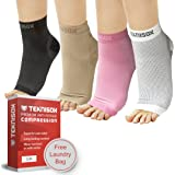 Superior Pain Relief Compression Socks, Toeless Foot Support Sleeves for Plantar Fasciitis / Arthritis in Feet / Painful Heels - Ultimate Comfort in Black, Pink, Nude or White for Men and Women