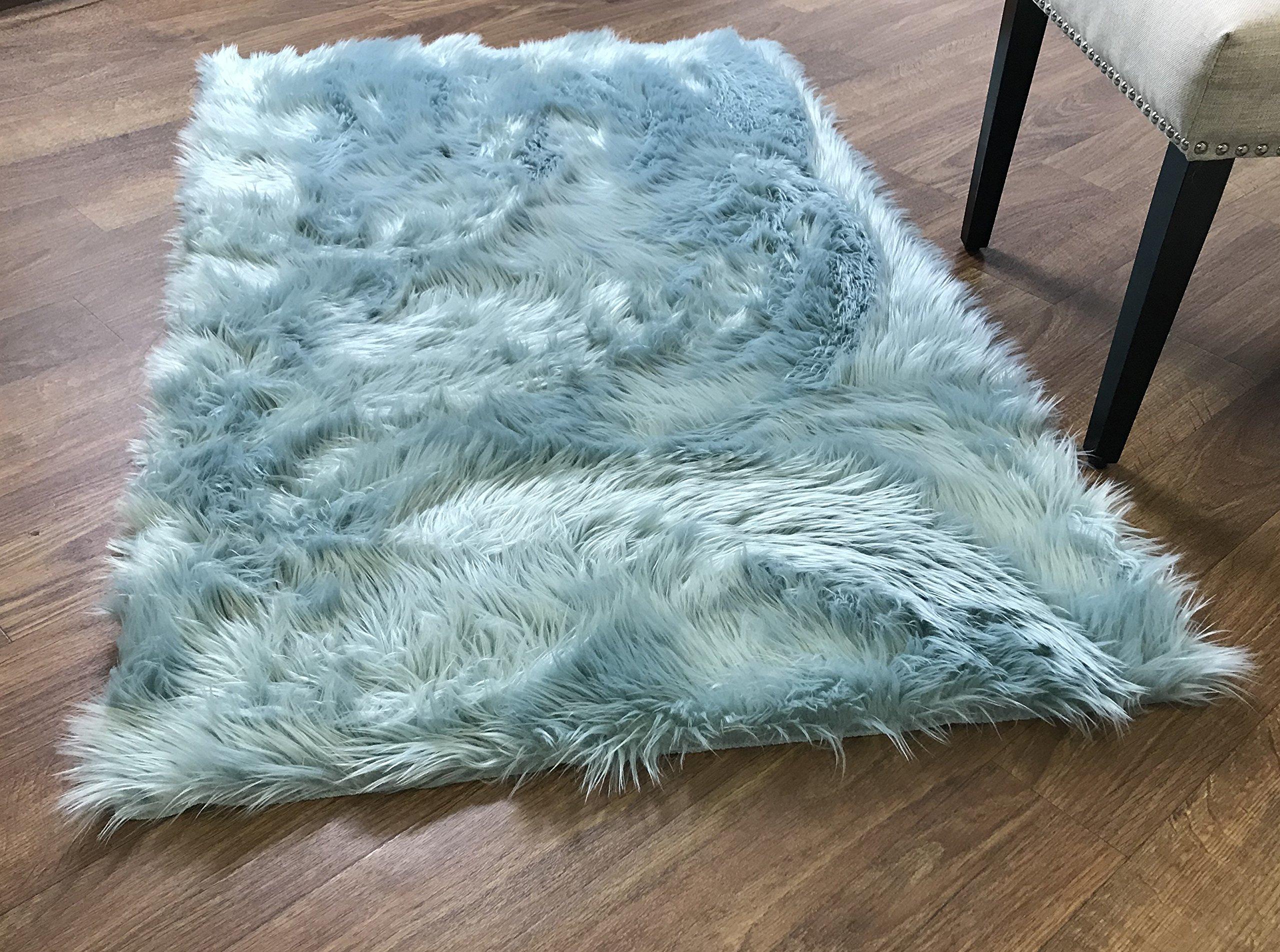 Serene Super Soft Faux Sheepskin Shag Silky Rug Baby Nursery Childrens Room Rug Teal, 5' x 7'