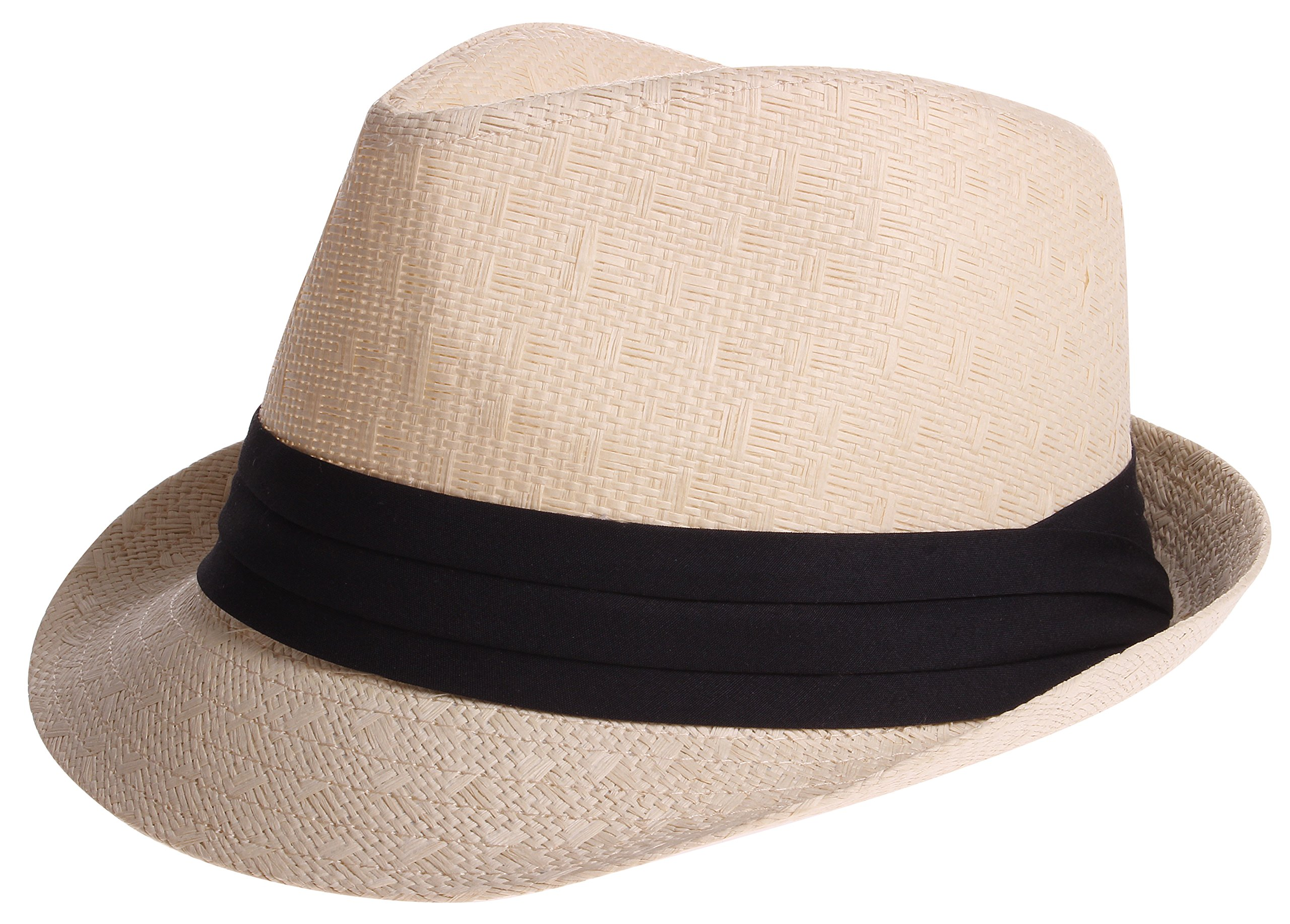 Enimay Vintage Unisex Fedora Hat Classic Timeless Light Weight 2118 - Beige S/m