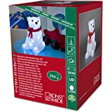 Konstsmide 6159-203 / Orso polare in acrile con fiocco rosso / 16 diodi bianco freddi / a batteria